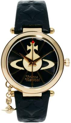 Vivienne Westwood Leather Strap Watch With Orb Charm VV006BKGD