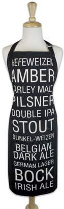 "Design Imports Beer Print Chef Kitchen Apron, 28""x35"", 100% Cotton, Black, White"