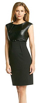 Calvin Klein Faux Leather Bodice Sheath Dress