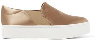 Vince - Warren Satin Slip-on Sneakers - Mushroom $225 thestylecure.com