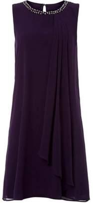 Dorothy Perkins Womens *Roman Originals Purple Embellished Neck Skater Dress