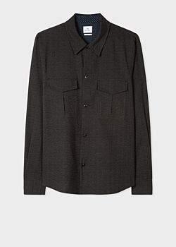 Paul Smith Men's Classic-Fit Black Dotted Line Seersucker Patch-Pocket Shirt