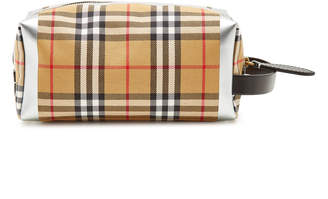 Burberry Checked Pouch with Leather