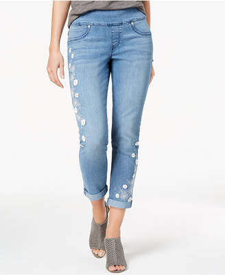 96bbb121827 Style Co. Style   Co Petite Embroidered Pull-On Ankle Boyfriend Jeans