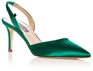 Sarah Jessica Parker Women's Bliss Satin Slingback Kitten Heel Pumps - 100% Exclusive