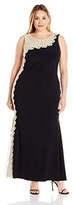Xscape Evenings Women's Plus-Size Long Ity with Chemical Lace Side Back, Black/Gold, 14W