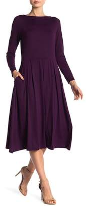 24\u002F7 Comfort Long Sleeve Fit and Flare Midi Dress (Plus Size Available)