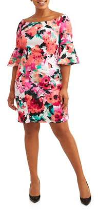 Love Squared Women's Plus Boat Neck Bell Sleeve Floral Dress