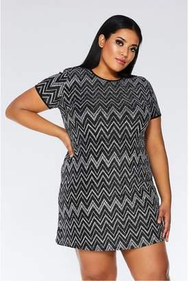 Quiz Curve Black and Silver Zig Zag Tunic Dress