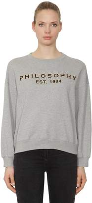 Philosophy di Lorenzo Serafini Glittered Logo Print Cotton Sweatshirt