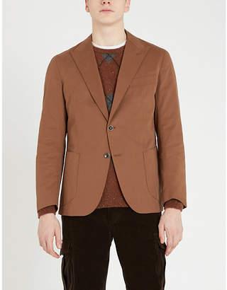 Eleventy Peak-lapel cotton-cashmere blend blazer