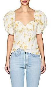 Brock Collection Women's Trixie Floral Cotton-Silk Puff-Sleeve Blouse - Yellow