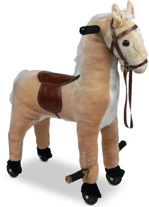 Trademark Global Happy Trails Plush Walking Horse with Wheels & Foot Rests
