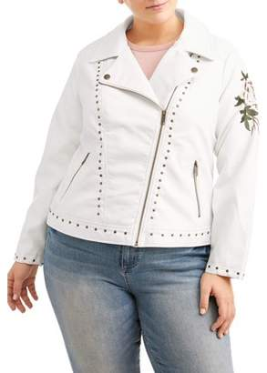 Urban Retro Women's Plus Size White Studded Leather Jacket with Rose