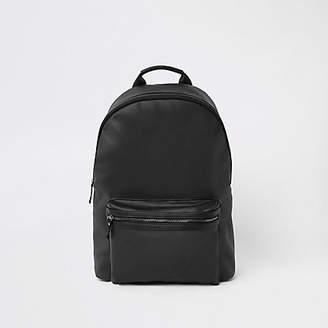 River Island Black faux leather front pocket backpack