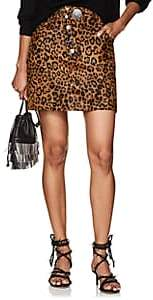 Alexander Wang Women's Leopard-Print Calf Hair & Leather Miniskirt - Neut. pat.