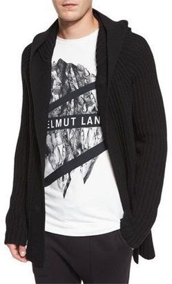 Helmut Lang Ribbed Hooded Cardigan, Black $540 thestylecure.com
