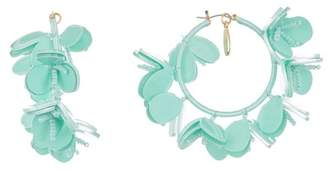 Oscar de la Renta Multi Flower Hoop Earrings