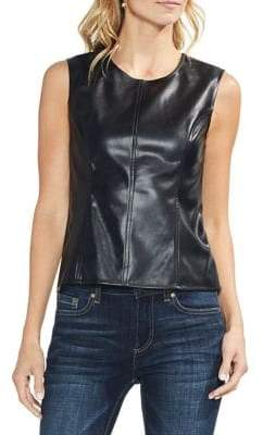 Vince Camuto Estate Jewels Sleeveless Faux-Leather Top