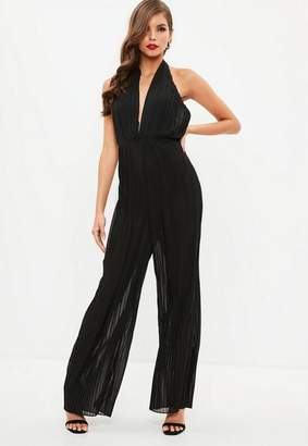 Missguided Black Pleated Halter Neck Romper