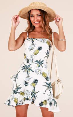 Showpo Pineapple Season dress in white print