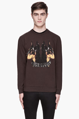 Givenchy Brown doberman print sweatshirt