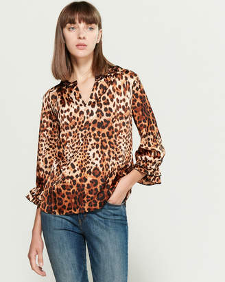 Sioni Leopard Ruffle Long Sleeve Blouse