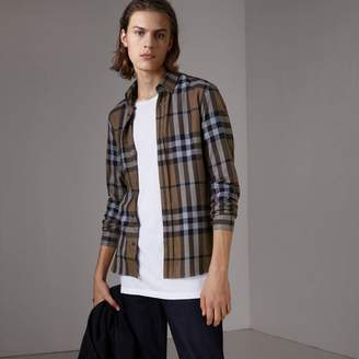 Burberry Check Cotton Cashmere Flannel Shirt