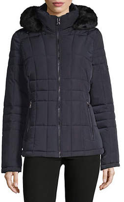 Calvin Klein Lightweight Fill Coat with Faux Fur Trim