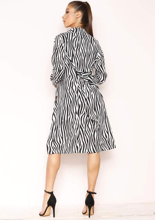 Missyempire Zaria White Zebra Print Longline Jacket