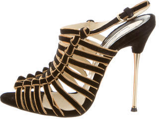 Brian Atwood Velvet Chain-Link Cage Sandals $220 thestylecure.com
