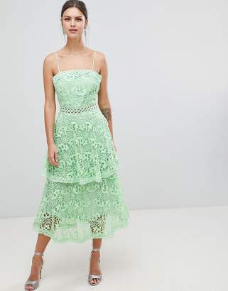 True Decadence Square Neck Cami Strap Midi Lace Dress With Ruffle Layered Skirt