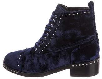 Marc Fisher Velvet Studded Combat Boots