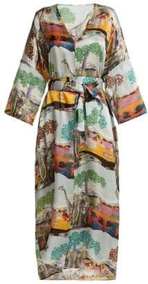 Chufy - Savannah Safari Print Silk Kaftan - Womens - Multi