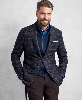 Brooks Brothers Golden Fleece Navy and Red Overplaid Sport Coat