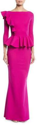 Chiara Boni Dinara Long Peplum Gown w/ Asymmetric Ruffle