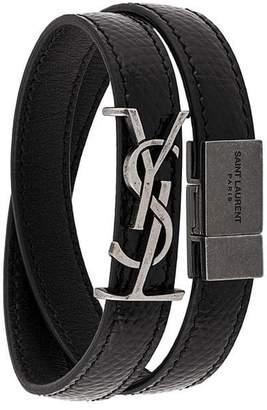 Saint Laurent logo plaque strap bracelet