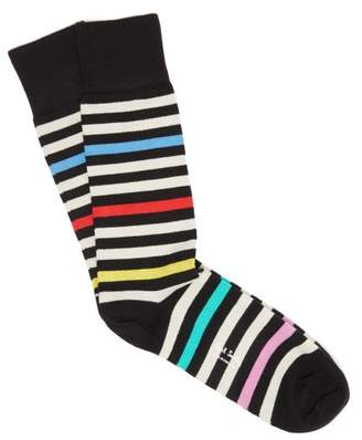 Paul Smith - Striped Cotton Blend Socks - Mens - Black