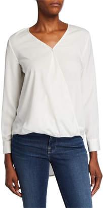 Tahari Denim Surplice Long-Sleeve High-Low Shirt