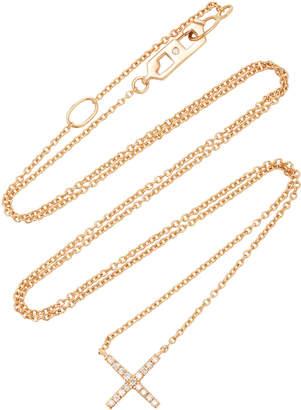 Eva Fehren Tiny X Rose Gold and Diamond Pendant Necklace