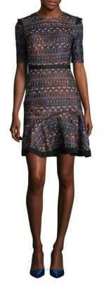 Saloni Ruffle Fit-and-Flare Dress