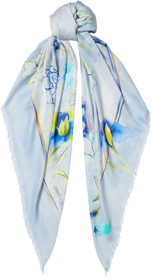 Jimmy Choo HUMI Celeste and Cobalt Printed Pashmina Shawl
