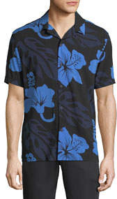 Floral-Printed Short-Sleeve Sport Shirt