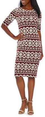 Ronni Nicole Elbow Sleeve Geo Puff Print Sheath Dress