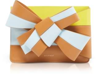 DELPOZO Color Block Leather Large Bow Clutch