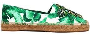 Dolce & Gabbana Embellished Printed Satin Espadrilles