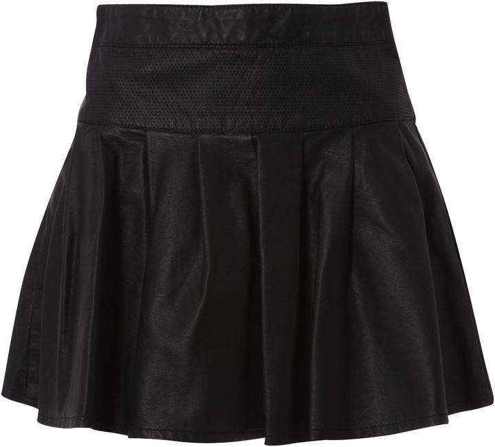 Be Beau Leather Look Zip Front Skater Skirt