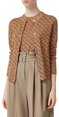 Burberry Chubut Monogram Pattern Merino Wool Blend Cardigan