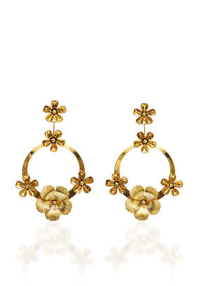 Jennifer Behr Freya Floral Plated Hoop Earrings