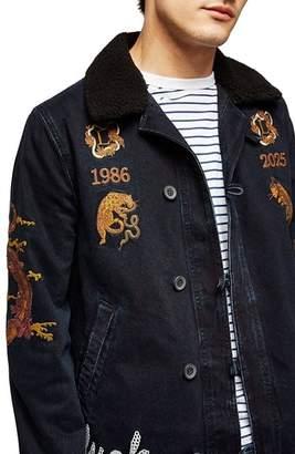 Topman Decadent Embroidered Denim Jacket
